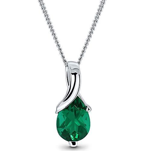 Miore Kette Damen Halskette mit tropfen Anhänger Edelstein/Geburtsstein Smaragd in grün Kette aus Weißgold 9 Karat / 375 Gold, Halsschmuck 45 cm lang