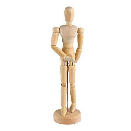 Maniqui para Dibujo, MOPOIN 30cm Maniquí de Madera con Base, Muñeco Articulado, Cuerpo Humano Figura Articulada para Dibujo, Muñeco Madera Articulado, Maniquí Humano de Madera para Dibujo y Pintura