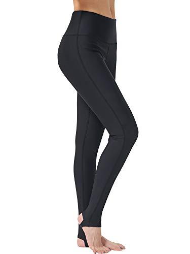 Keolorn Womens Stirrup Leggings Tights Gym Yoga Workout Pants High Waist Tummy Control Sports Pants (Black, Medium)