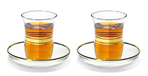 Topkapi - 12-TLG Türkisches Tee-Set ESMA-Sultan mit Golddekor, 6 Teegläser und 6 Untersetzer