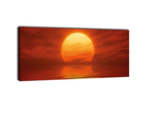 wandmotiv24 Leinwandbild Panorama Nr. 370 Sonnenuntergang Rot 100x40cm, Keilrahmenbild, Bild auf Leinwand, Meer Rot Sonnenuntergang