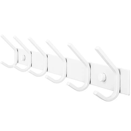 WEBI Coat Rack Wall MountedCoat Hooks Wall Mounted WhiteCoat Hanger Wall Hook Rack6 Hooks for Hanging CoatsHatsJacketClothes