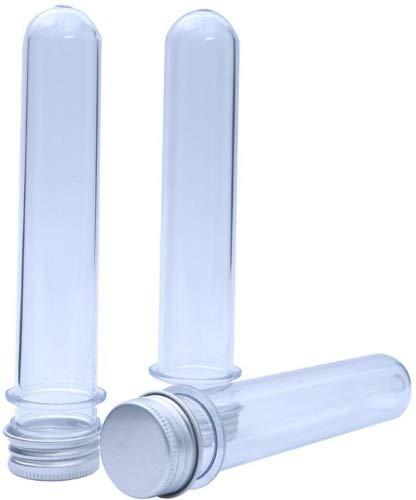 Goodlucky365 (12pcs) Transparentes Tubos de Ensayo Plástico Con Tapa Tapón de Rosca Botes de Almacenamiento 25x140mm (40ml)