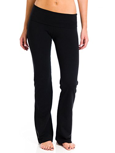 Hard Tail Roll Down Bootleg Flare Pant,Black,Small