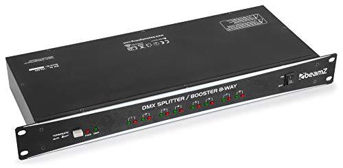 beamZ DMX Splitter-Booster Repartidor de señal DMX con control DMX-512 (entrada XLR, 8 salidas XLR aisladas, recibe y distribuye señales)