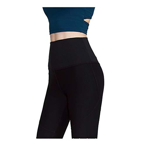 Sport Yoga Pants,'S Senza Saldatura Alte Donne della Vita di Allenamento Pancia Controllo Stretch Esecuzione Fuseaux, Non See-Through Fitness Elastic Shorts,Nero,S