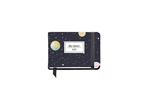 Miquelrius - Agenda 2021 Planets, Catalán, Semana Vista, Tamaño 105 x 74 mm (SV), Papel 70 g, Cubierta Rígida Cartón Forrado, color Marino