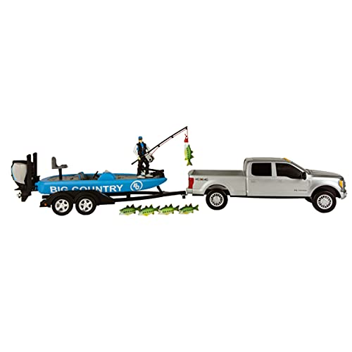 Big Country Toys Bass Fishing Set - 1:20 Scale - Ford F250 Super Duty - Bass Boat - Accessory Pack - 11 Pieces Toy Set