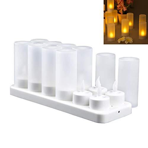 Cratone 12 LED flamlösa ljus LED-ljus julljus ljus ljus uppladdningsbara ljus med laddningsstation varm vit 4 x 4,9 cm
