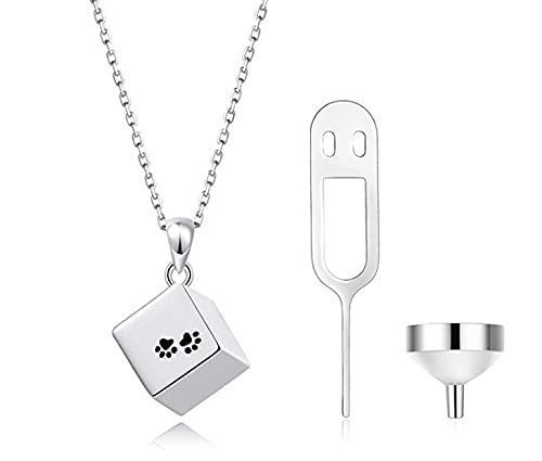 Collar de plata de ley S925 con forma de cubo, colgante cuadrado con impresión de perro