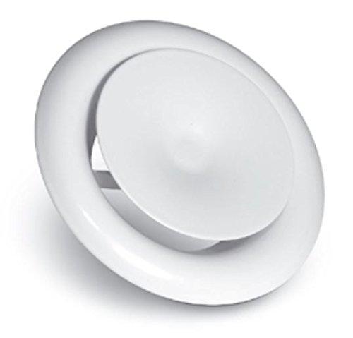 Zuluftventil, Tellerventil - Decken- und Wandmontage; KN Serie; Pulverbeschichteter Stahl; Weiß 100mm