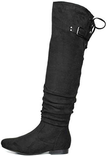DREAM PAIRS Women's Colby Black Over The Knee Pull On Boots - 7.5 M US