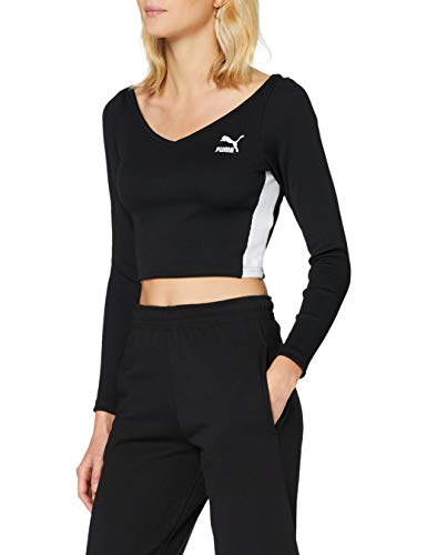 Puma Classics Ribbed Longsleeve Cropped Top Crop Top Femme Puma Black FR : M (Taille Fabricant : M)