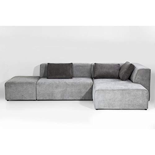 Canapé d'angle 6 places Gris Tissu Design