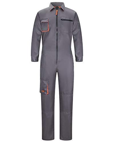 Jkroling Herren Classico Arbeitslatzhose Overall Boiler Anzug Baumwolle Arbeitsoverall Schutzanzug Schutz-Latzhose Arbeitskleidung (L, Grau)