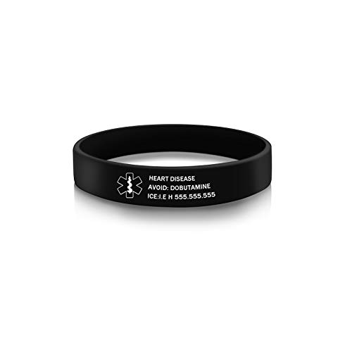 Medical Alert ID Bracelets Engraved Personalized Emergency Waterproof Silicone Various Color Band for Men Women (Black)