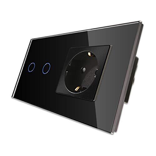 CNBINGO Enchufe Schuko con doble interruptor de luz, con panel táctil de cristal y LED de estado, interruptor de 2 vías, interruptor táctil negro y enchufe, conductor neutro no se necesita