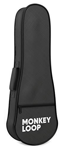 Monkey Loop - Jungle UKB-23 - Funda para Ukelele Concierto - Color Negro - Acolchado de 5 mm de Grosor - Alta Calidad - Protección Superior - Asa y Correa de Hombro - Bolsillo Exterior de Almacenaje
