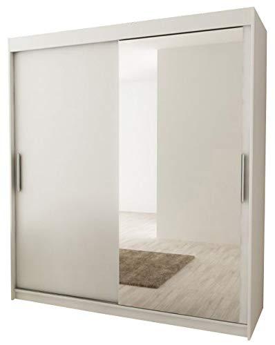 Kryspol Schwebetürenschrank Tokyo 2-150 cm mit Spiegel Kleiderschrank mit Kleiderstange und Einlegeboden Schlafzimmer- Wohnzimmerschrank Schiebetüren Modern Design (Weiß)