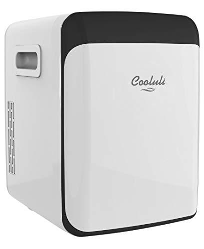 Cooluli 15L Mini Fridge for Bedroom - Car, Office Desk & College Dorm Room - 12V Portable Cooler & Warmer for Food, Drinks, Skincare, Beauty, Makeup & Cosmetics - AC/DC Small Refrigerator (White)