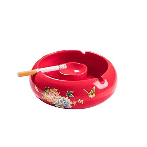 jiji Cenicero para cigarrillos, cenicero de cerámica decorativo de grandes dimensiones, cenicero redondo para cigarros, interior y exterior (color rojo)