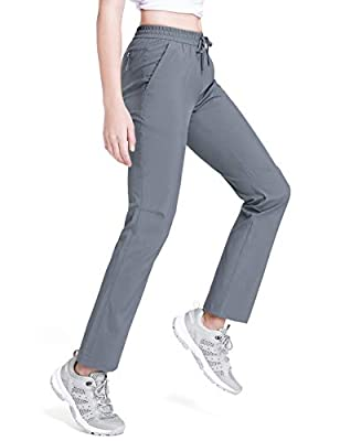 Womens Cargo Hiking Pants Summer Quick Dry Lightweight Pants Camping Stretch Women Convertible Fishing Golf Travel Trousers Gray