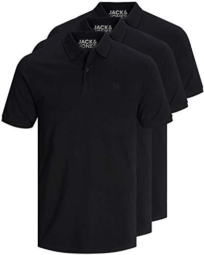 JACK & JONES 3er Pack Herren Poloshirt Slim Fit Kurzarm schwarz weiß blau grau XS S M L XL XXL Einfarbig Gratis Wäschenetz von B46 (3er Pack schwarz, XL)