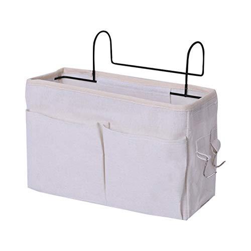 Cozy69 Bolsillo organizador para mesita de noche, gran capacidad, multifunción, cesta de almacenamiento con gancho de hierro para colgar en el hogar, oficina, escuela, dormitorio, dormitorio