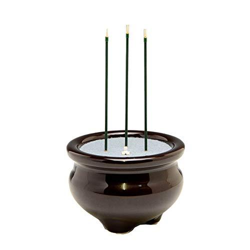 ハセガワ仏壇 先端が赤く光る 電子線香 サンやすらぎ 3本立(3寸) 陶器製香炉付 [茶色] 電池付き 9.5×15.6cm
