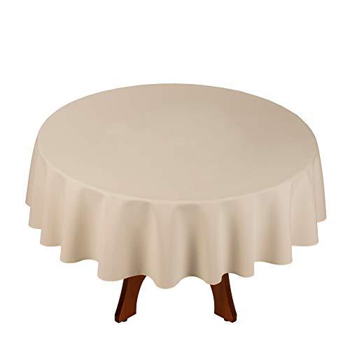 StoffTex Tischdecke Tischläufer Tischtuch Tischwäsche Tischdekoration Tafeltuch (Ecru, Rund Ø 140cm)