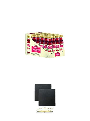 Nordbrand Saure Kirsche 24 x 0,02 Liter Minis + Schiefer Glasuntersetzer eckig ca. 9,5 cm Ø 2 Stück