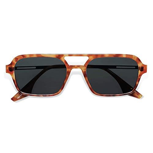 SOJOS Polarized Sunglasses for Women Men,Vintage 70s Flat Aviator Glasses UV400 Protection Shades SJ2186 with Yellow Tortoise Frame/Grey Lens