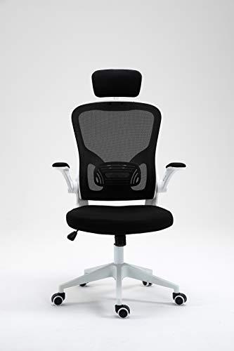BAIRES4 - Sedia comoda da scrivania, ergonomica, braccioli pieghevoli, poggiatesta regolabile, supporto lombare regolabile, girevole, per ufficio, colore: bianco, cuscino resistente