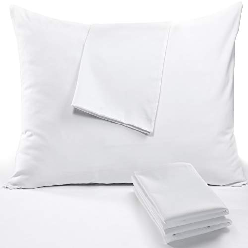 Niagara Sleep Solution 4 Pack Pillow Protectors Queen 20x30 Inches Lab Certified Anti Allergy Ultra Fresh Treated 100% Cotton Non Crinkle Quiet Breathable Zipper Covers Cases White