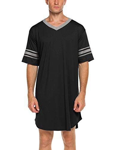 ADOME Nachthemd Herren Kurzarm Nachtwäsche Herrennachthemd Nightshirt Kurz Knielang Pyjama Schlafkleid Sommer Männer