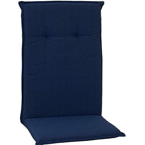 Beo Sitzkissen in dunkelblau für Hochlehner Gartenstühle mit Saumraund