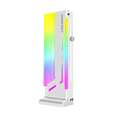 Coolmoon LED GPU Holder 5V 3 Pin ARGB LED Soporte de Tarjeta gráfica Vertical Marco de Soporte RGB direccionable con Base magnética Soporte de Tarjeta gráfica RGB