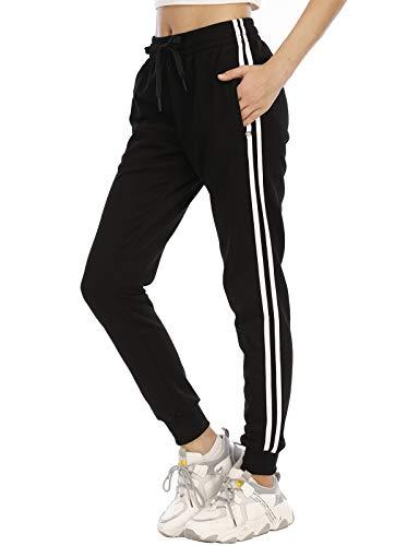 DAFENP Damen Jogginghose Sporthose Baumwolle Slim Fit Trainingshose Bequem Yogahosen Fitness High Waist Freizeithose Jogger Sweathose KZ6039W-BlackWhite-2G-L
