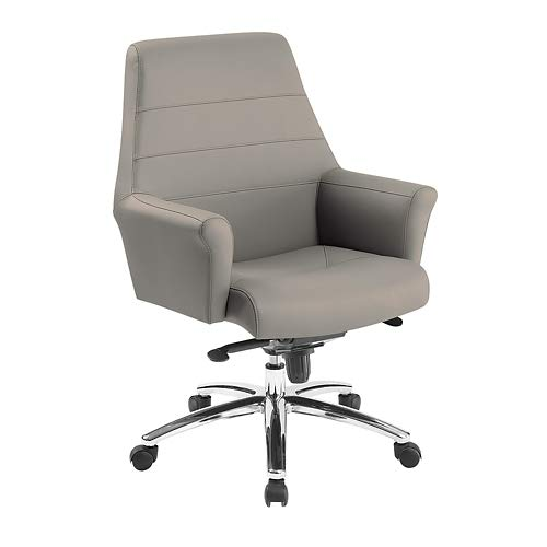 Hadley Faux Leather Mid Back Executive Chair Stratus Polyurethane Chrome Steel Base