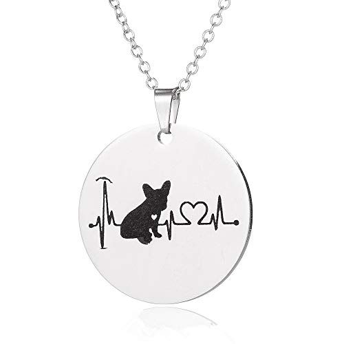 Jinleansu Dog Heartbeat Necklace Cute Puppy Necklace, Veterinarian Gifts for Women, Dog Jewelry, Dog Owner Gifts, Dog Paw Necklace, Dog Gifts for Women, Dog Lover Necklaces (French Bulldog)