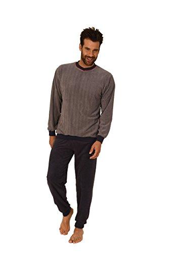 Normann Herren Frottee Pyjama Langarm mit Bündchen - auch in Übergrössen bis Gr. 70-271 101 93 225, Farbe:grau;Größe:54