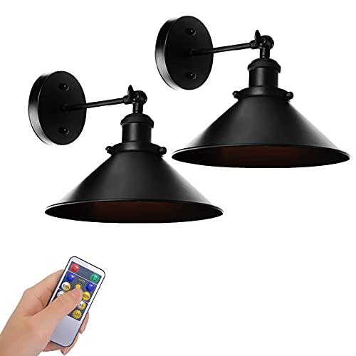 xixiBO Paquete de 2 Apliques de Pared Negros industriales Vintage lámpara de Pared con Brazo oscilante Ajustable, Control Remoto LED, Funciona con Pilas, lámpara de Pared Regulable inalámbrica para i