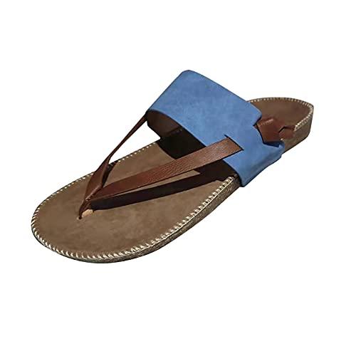 OHQ Sandalias Romanos Planas Con Solapa Zapatillas Para Mujer Zapatos Verano De TacóN Playa Al Aire Libre