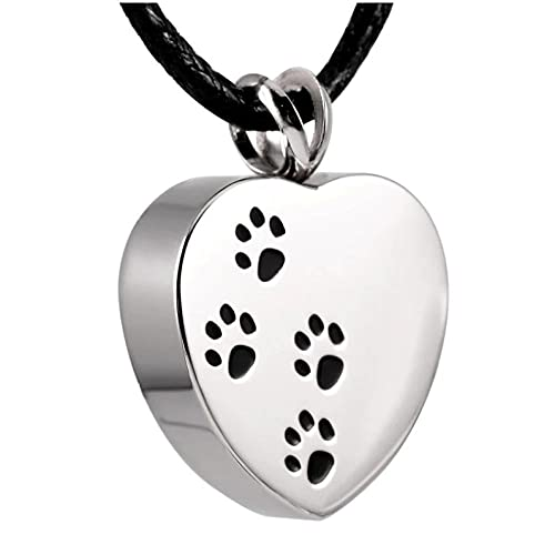 Wxcvz Collar Urna para Cenizas Collares De Urna De Corazón Collar De Cremación con Estampado De Pata De Perro Mascota Colgante Conmemorativo Cenizas con Embudo De Plástico Gratis