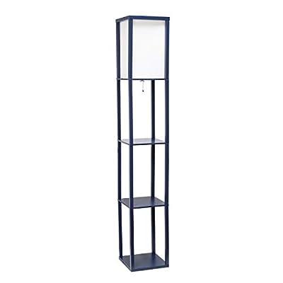Simple Designs Home LF1014-NAV Etagere Organizer Storage Shelf Linen Shade Floor Lamp, Navy