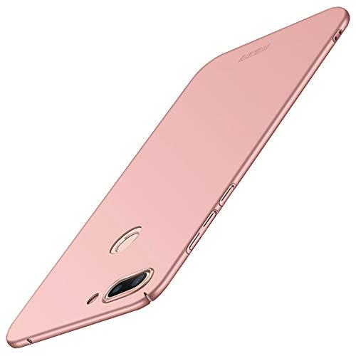 Xiaomi Mi 8 Lite Cover, Xiaomi Mi 8 Lite Tempered Glass Protective Film, JMGoodstore Ultra Thin Case Anti-Scratch and Fingerprint Resistant Hard Plastic Protective Case Cover [Skin Series] Rose Gold