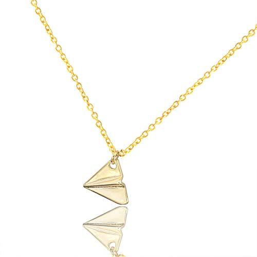 FyaWTM Halskette Choker for Winzige Charm Anhänger Halsketten für Frauen zierliche Origami Papier Flugzeug Schmuck Edelstahl Gold Farbe KetteMutter Geschenke