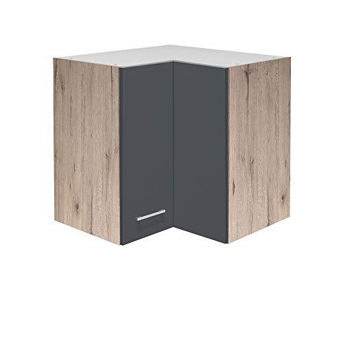 MMR Küchen-Eckhängeschrank LIVERPOOL - Eckschrank - Küchenschrank - 2-türig - 60 cm breit - Basaltgrau Matt
