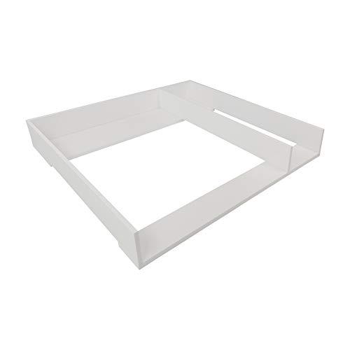 Puckdaddy Wickelaufsatz Malte – 80x78x10 cm, Wickelauflage aus Holz in Weiß, hochwertiger Wickeltischaufsatz mit Trennfach passend für IKEA Malm Kommoden, inkl. Wandbefestigung