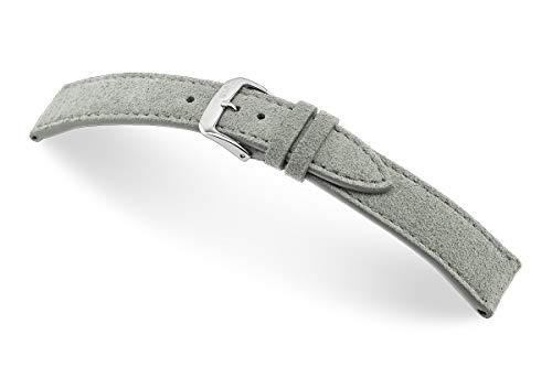 RIOS1931 Franklin 20mm Vintage Wildleder Ersatz Uhrenarmbandband handgemacht in Deutschland Klassisch hautfreundlich grau